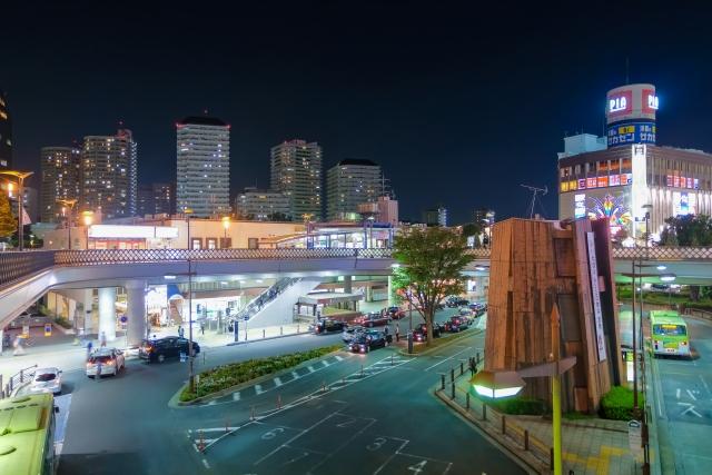 川口駅前の夜景
